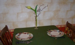 one tulip on table
