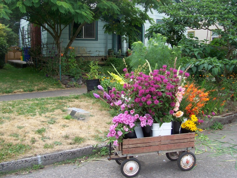 picture of wagon being used for flower transport