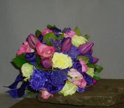 ribbon woven in purple bridal boquet