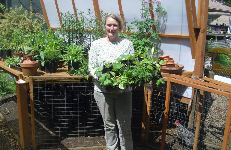 picture of marianna holding tray of plant starts