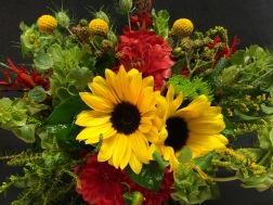 sunflower, dahlia billyballs bridal bq