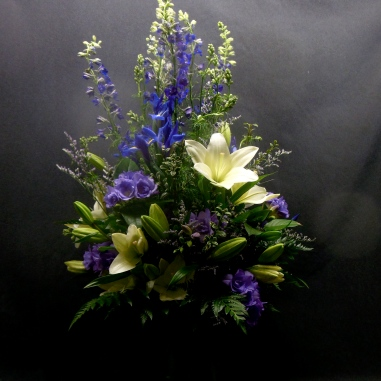 picture of tall arrangment with Monkshood