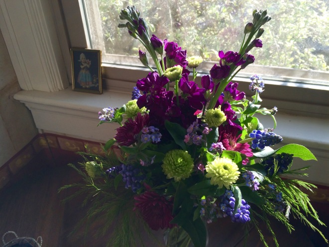 Picture of vase arrangement including Stock, Chrysanthemum, Muscari and Forget Me Not.