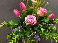 Grape Hyacinth and Forget Me Nots with Roses and Tulips.