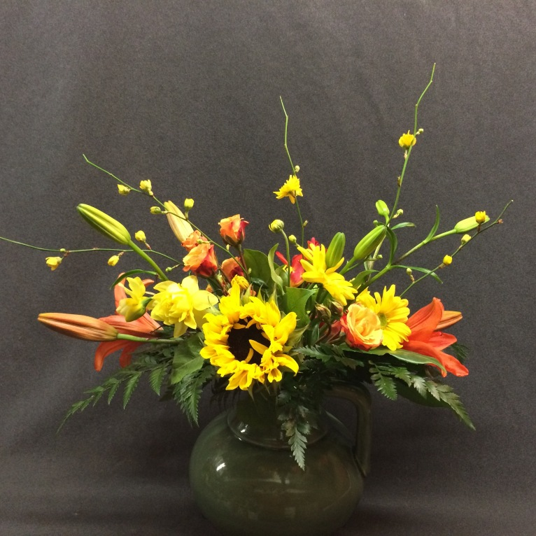 Kerria Japonica used with market flowers