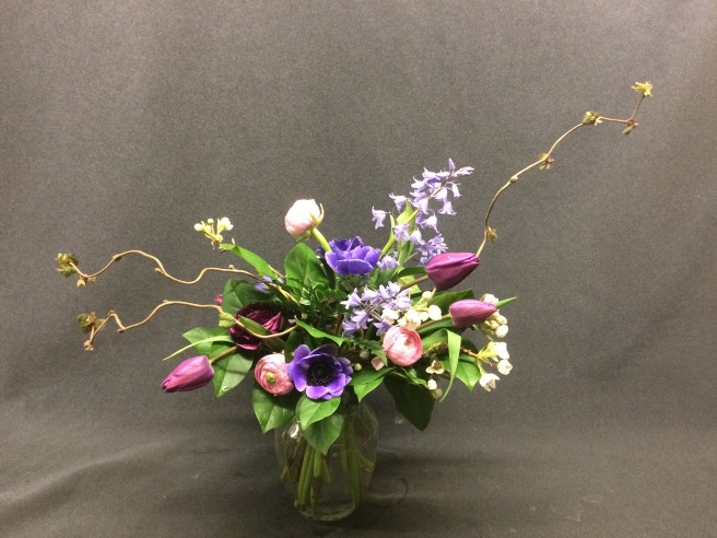 Audacious bouquet with Harry Lauder's walkingstick, Tulips, Anemene,Ranunculus, Spanish Purple Bells
