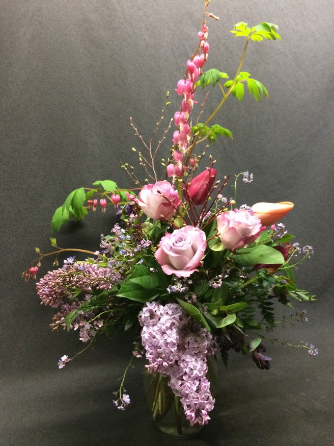 Bleeding Heart, Lilac, Forget me Not and Tulips combined with beautiful ocean song roses from the market.
